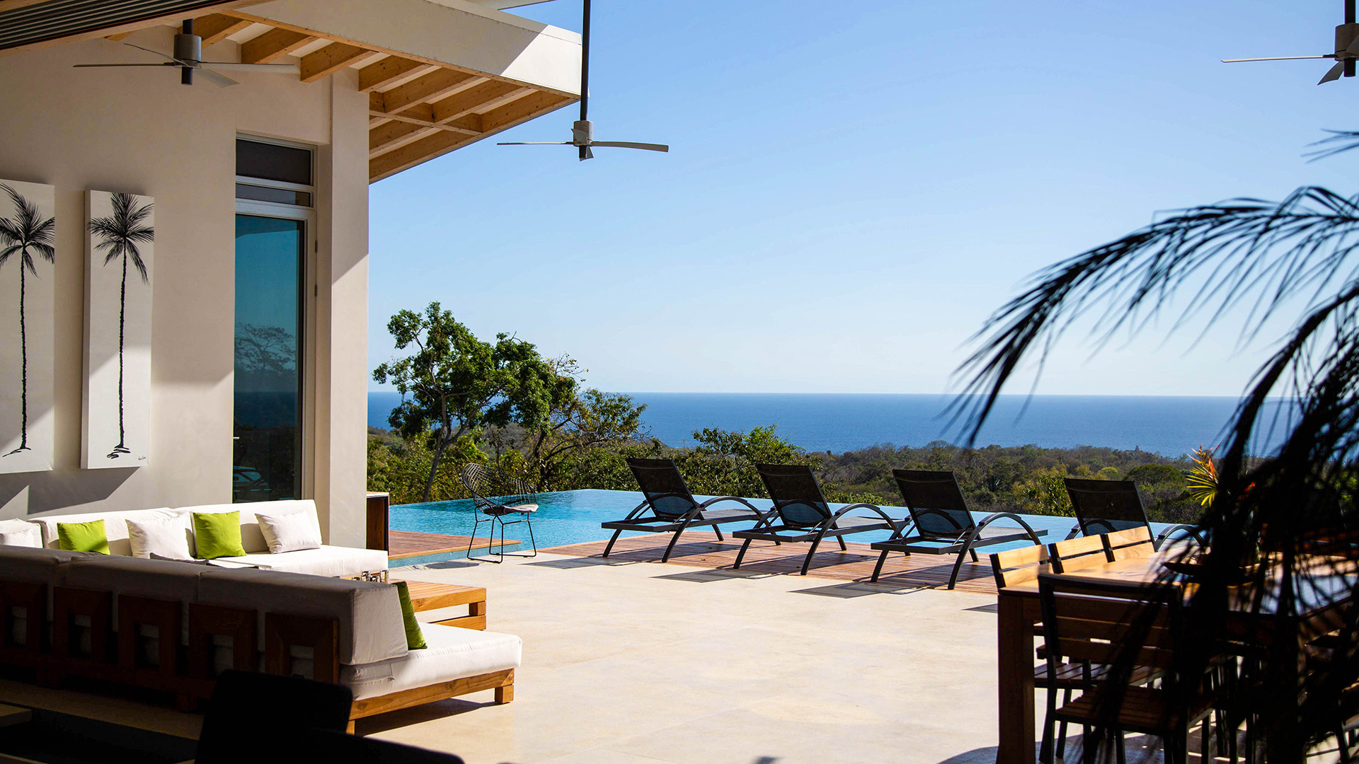 View of the villa patio overlooking the Pacific Ocean in Nosara, Costa Rica